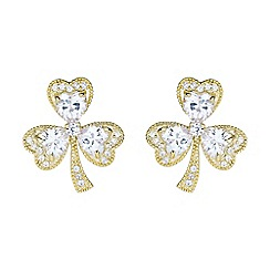 Mikey London - Gold shamrock design cubic stud earring