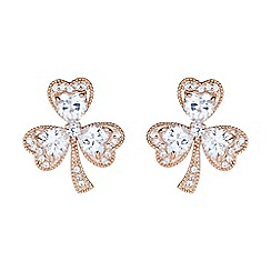 Mikey London - Rose gold shamrock design cubic stud earring