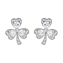 Mikey London - White shamrock design cubic stud earring