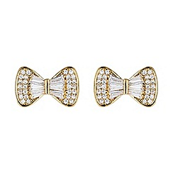 Mikey London - Gold bow design baugette cubic stud earring