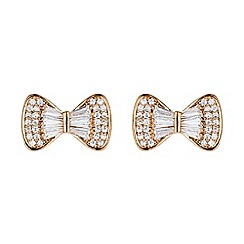 Mikey London - Rose gold bow design baugette cubic stud earring