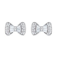 Mikey London - White bow design baugette cubic stud earring