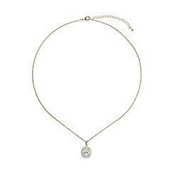 Mikey London - Gold oblong cubic baugette surround necklace