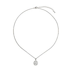 Mikey London - White oblong cubic baugette surround necklace