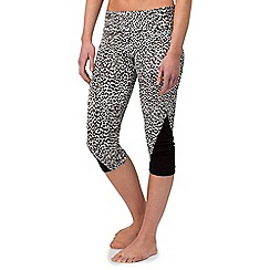 Pineapple - White AOP crop leggings