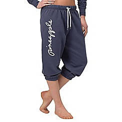 Pineapple - Blue script long crop trousers