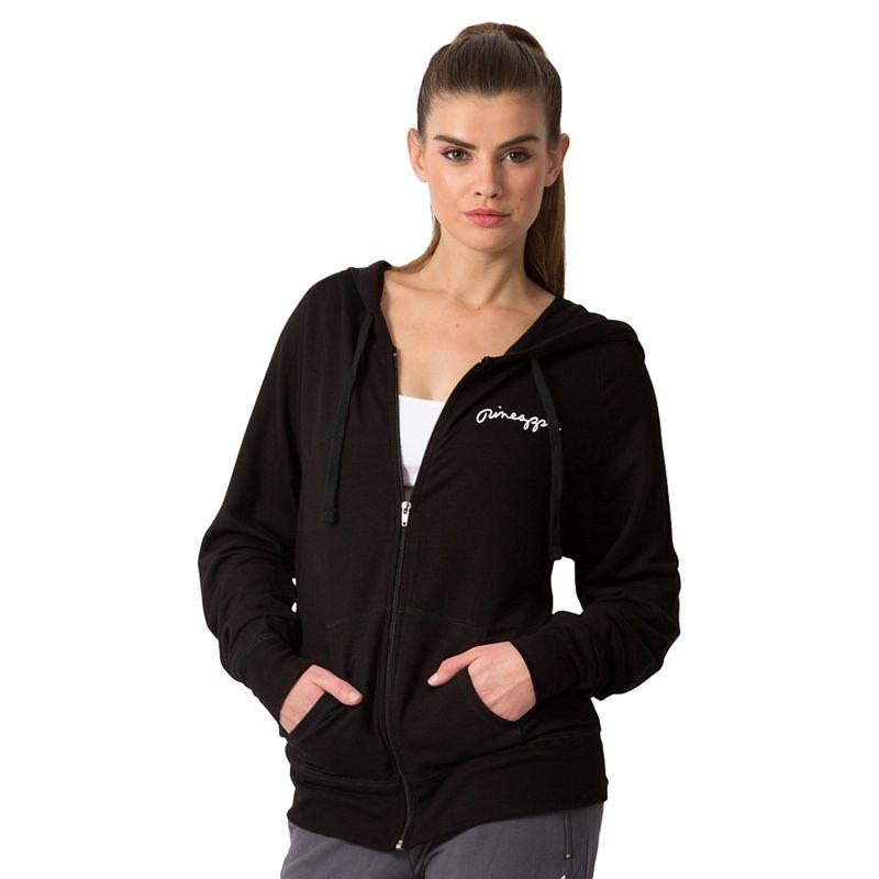Pineapple Zip Hood Jacket, Womens, Size: Medium, Black