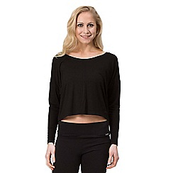 Pineapple - Black crop long sleeve slouchy t-shirt