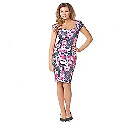 Jessica Wright - Pink floral 'Beth' sweetheart neckline bodycon dress
