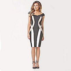 Jessica Wright - Black, white and nude 'Phoebe' block panel dress