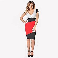 Jessica Wright - Black,white & red 'Briony' diagonal panel stock bodycon dress