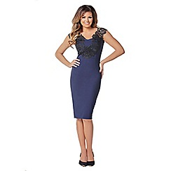 Jessica Wright - Navy 'Pearly' sweetheart neckline lace bodycon dress