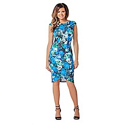 Jessica Wright - Blue multi 'Jess' cap-sleeve dress