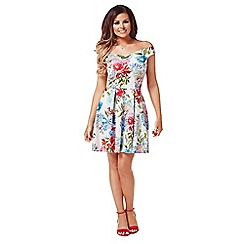 Jessica Wright - Multicoloured 'Amelia' off the shoulder skater dress