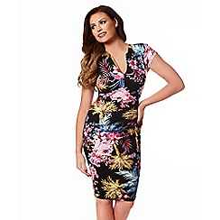 Jessica Wright - Multicoloured 'Samantha' v-necked capped sleeve dress