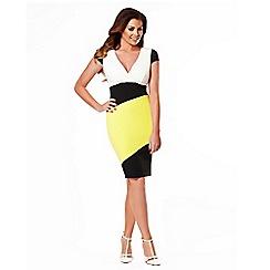 Jessica Wright - Black, white & yellow 'briony' diagonal panel stock bodycon dress