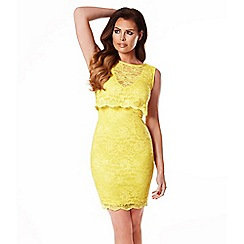 Jessica Wright - Yellow 'lucia' lace midi dress