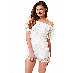 Jessica Wright - White 'Demi' frill playsuit