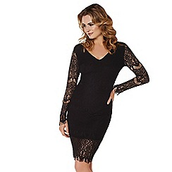 Lipstick Boutique - Black 'Nina' midi lace dress