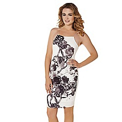 Lipstick Boutique - Cream 'Anca' foil print dress