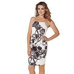 Lipstick Boutique - Cream 'Anca' foil print dress