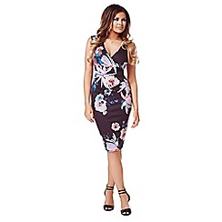 Jessica Wright - Black floral 'Erin' print wrap dress