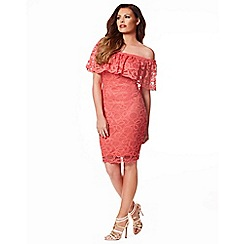 Jessica Wright - Coral 'Jen' lace midi dress