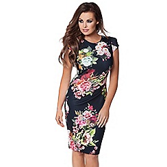 Jessica Wright - Black floral print 'Eden' midi bodycon dress