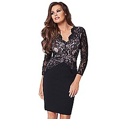 Jessica Wright - Black & nude 'Pauline' lace midi dress