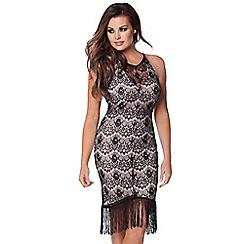 Jessica Wright - Black 'Daria' lace fringe dress