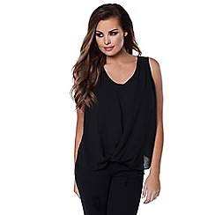 Jessica Wright - Black 'Raina' sleeveless wrap top