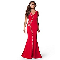 Jessica Wright - Red 'Lena' lace insert maxi dress