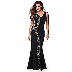 Jessica Wright - Black 'Lena' lace insert plunge maxi dress