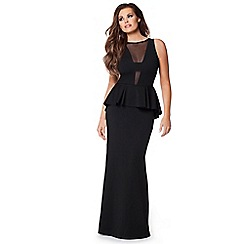 Jessica Wright - Black 'Noella' peplum maxi dress