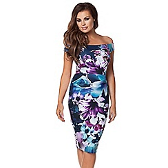 Jessica Wright - Navy 'Lora' print bardot dress