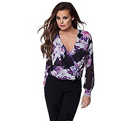 Jessica Wright - Purple floral 'Anastacia' print front wrap blouse