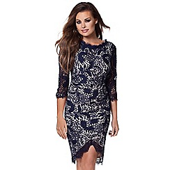 Jessica Wright - Navy 'Pippa' corded lace midi dress