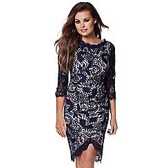 Jessica Wright - Navy 'Pippa' corded lace midi dress