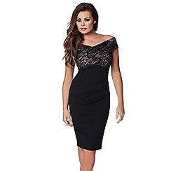 Jessica Wright - Black 'Carrie' lace midi dress