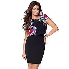 Jessica Wright - Black multicoloured 'Kimmie' chiffon midi dress
