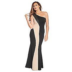Jessica Wright - Black & nude 'Silla' one shoulder maxi embellished dress