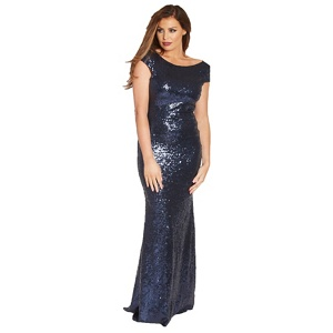 Jessica Wright for Sistaglam Navy 'Fran' vip sequin maxi dress