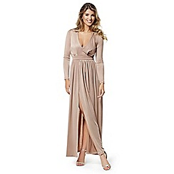 Lipstick Boutique - Camel 'Skylar' split skirt maxi dress