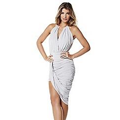 Lipstick Boutique - Grey 'Cheryl' draped body-con dress