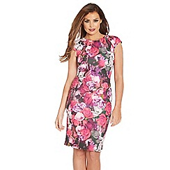 Jessica Wright - Pink floral 'Poppy' pleated cap sleeve dress