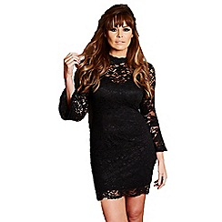 Jessica Wright - Black 'Juliet' flared sleeve lace bodycon dress