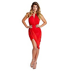 Lipstick Boutique - Red 'Cheryl' draped bodycon dress