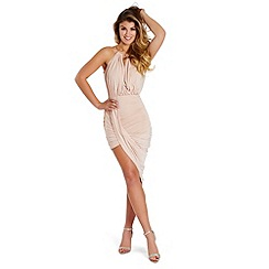 Lipstick Boutique - Nude 'Cheryl' draped bodycon dress