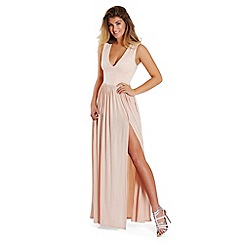 Lipstick Boutique - Nude 'Laney' slinky plunge maxi dress
