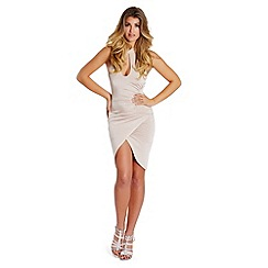 Lipstick Boutique - Nude 'Jaz' high neck ruched slinky dress